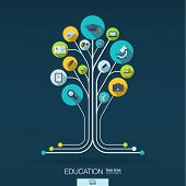 Abstract education background with lines, connected circles and integrated flat icons. Growth tree concept with school, science, geography, biology, microscope icon. Vector interactive illustration. poster