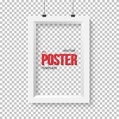 Illustration of Vector Poster Frame Mockup. Realistic Vector EPS10 Paper Vertical Poster Isolated on PS Style Transparent Background poster