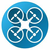 Nanocopter vector toolbar icon for software design. Style is a white symbol on a round blue circle with gradient shadow. poster