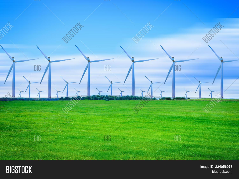 Generating wind turbines electricity green powerpoint template y toneelgroepblik Images