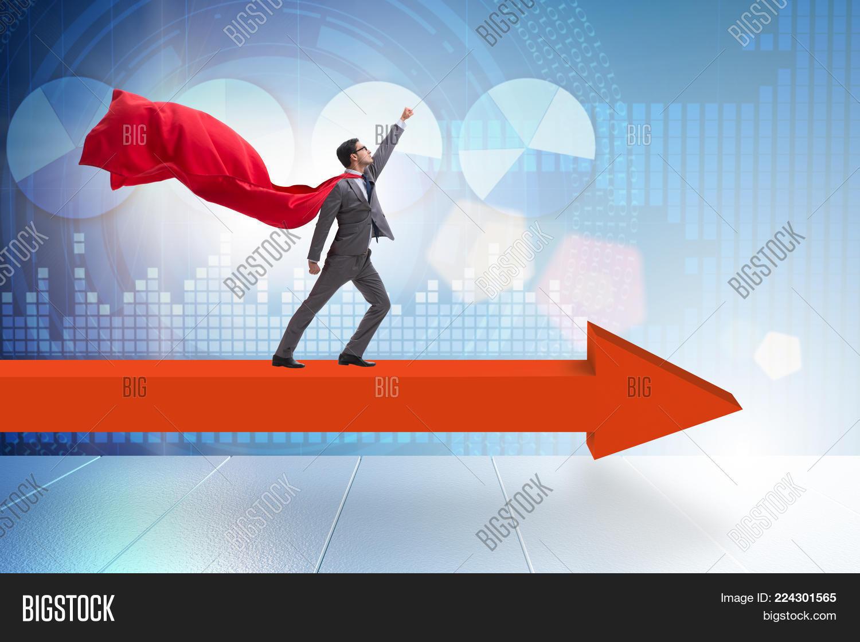 superhero businessman standing powerpoint template superhero