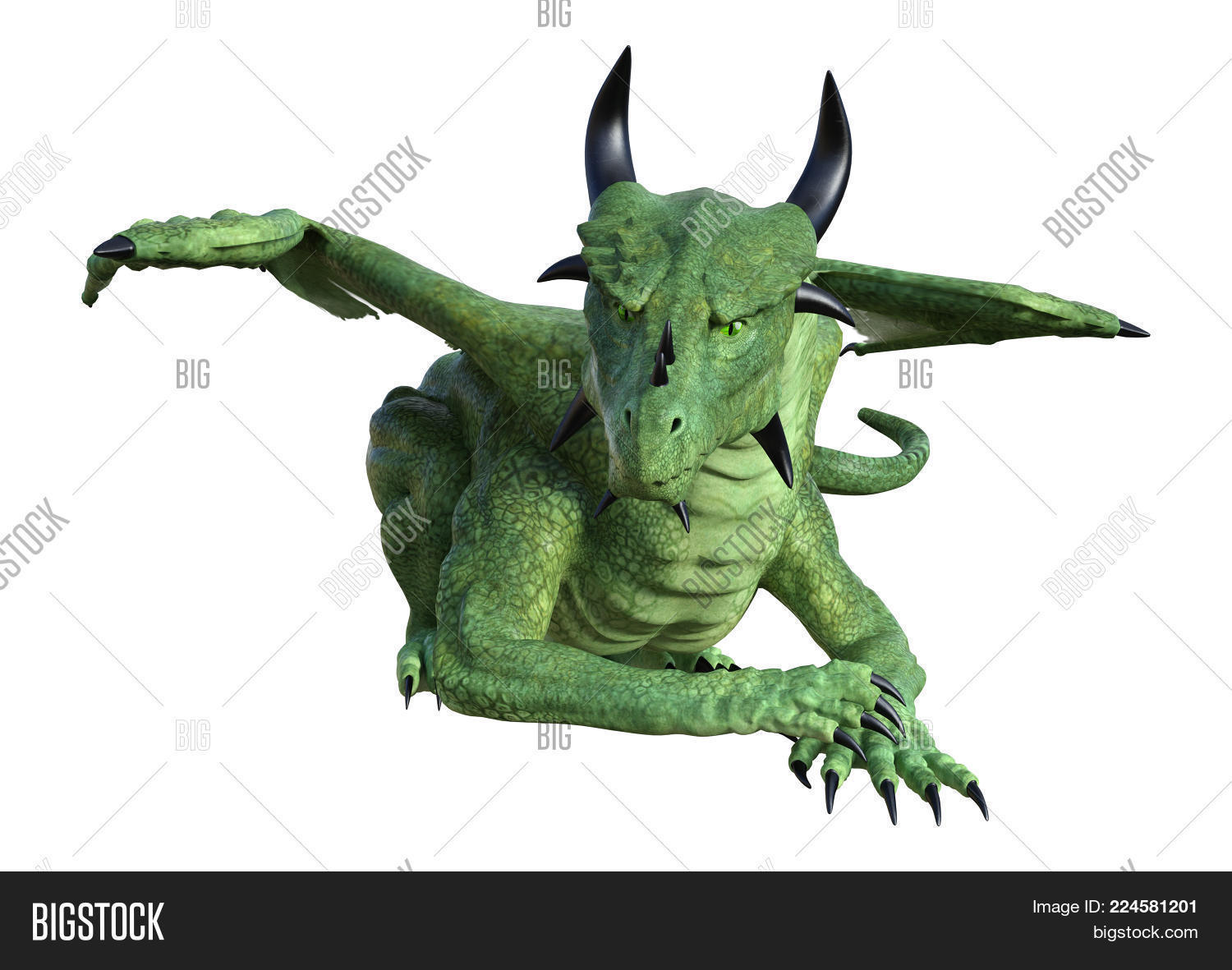 Wings Dragon Green Fantasy PowerPoint Template