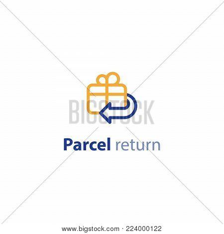 Delivery services, parcel return, shipment options, vector line icon set