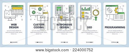 Vector set of vertical banners with Web design, Custom coding, Responsive design, SEO, Programming website templates. Modern thin line flat style design.