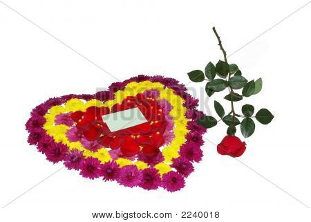 Rose And Heart From Flowers