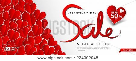 Valentine's day sale banner vector template, Valentine Heart sale tags, web banner design, Discount card,  promotion, flyer layout, ad, advertisement, printing media