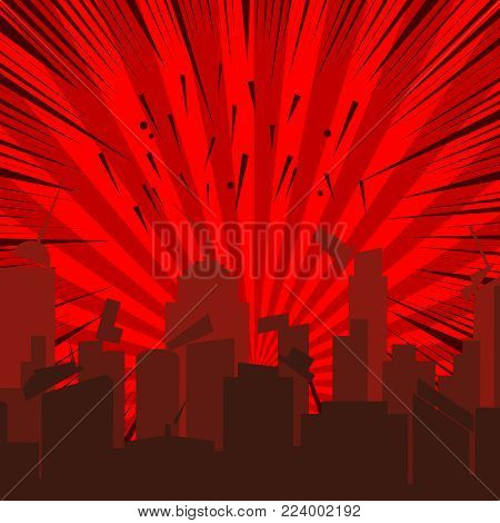 Comic collapsing cityscape template with destruction of city rays and sound effects on red radial background in pop art style. Vector illustration