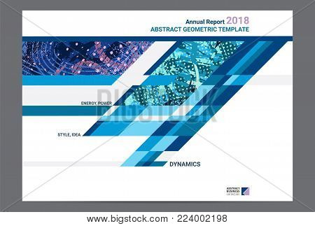 Cover design annual report, brochure template layout, A4 with abstract expressive textures for business, finance. Creative vector design set.