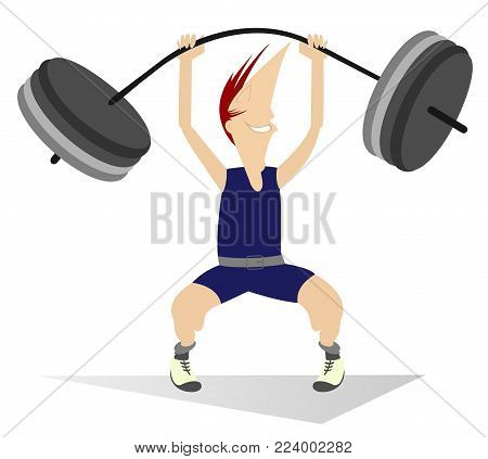 Cartoon man weightlifter isolated vector illustration. Cartoon strong smiling man is trying to lift a heavy weight isolated on white illustration