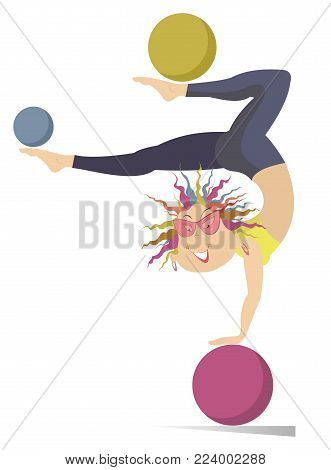 Smiling cartoon young woman does exercises with the ball vector illustration. Funny young woman with multicolor hair standing legs up on the ball and doing exercises with the balls by legs isolated on white illustration