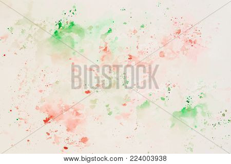 Tender cheerful light multicolored spots on white paper, spring shades. Abstract watercolor hand drawn image, for splash background, colorful shades on white. Hand draw illustration for modern design