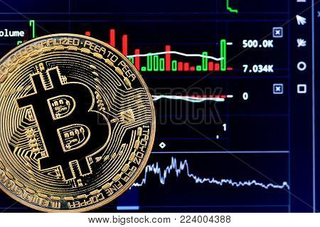 Bitcoin. Crypto currency Bitcoin, BTC, Bit Coin. Bitcoin golden coin on a chart. Blockchain technology, bitcoin mining concept
