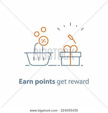 Earn points and get reward, loyalty program, marketing concept, small gift box and shopping basket, vector line icon, thin stroke illustration