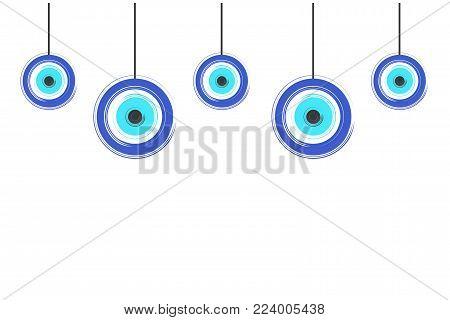 card with blue evil eyes - evil eye vector - white background