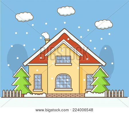 Winter landscape with the country private house.Pine tree covered with snow and smoking pipe.Suburban rural cottage.Concept of a card or poster in winter time the falling snowflakes christmas tree