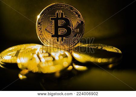 Coins golden  bitcoin of the black background