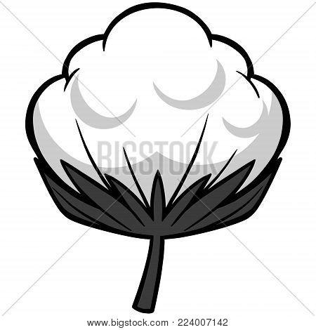 Cotton Blossom Illustration - A vector cartoon illustration of a Cotton Blossom.