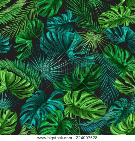 Vector tropical leaves summer seamless pattern background template. Jungle forest palm monstera floral exotic plant aloha hawaii botanical frame. Vintage retro spring illustration beach party layout