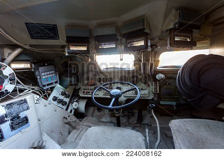 Samara, Russia - January 27, 2018: Inside the unified command-staff vehicle R-149MA1 of russian army based on the BTR-80