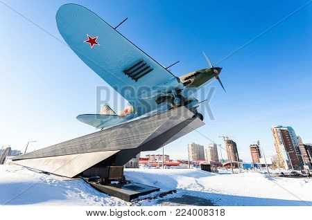 Samara, Russia - January 28, 2018: Monument to low-flying attack airplane