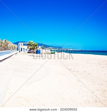 Summer beach background with copy space -  tropical  vacation and travel concep
