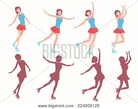 Ladies figure skating.Figure skating. Happy  girl in short red skirt and blue shirt dancing on on ice. Different poses and added silhouettes. Vector illustration EPS-8.