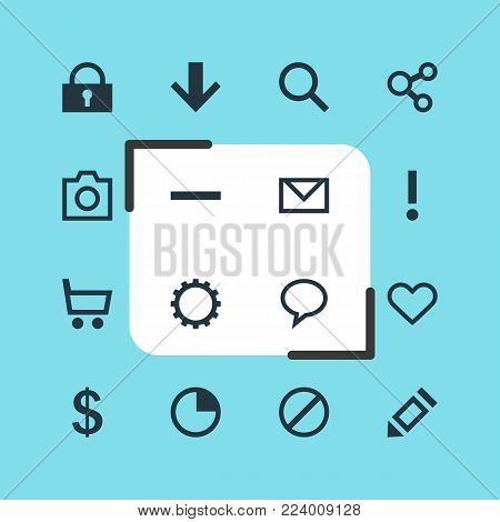 Vector illustration of 16 interface icons. Editable set of remove, soul, trading cart and other icon elements.