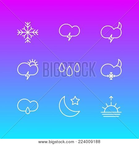 Vector illustration of 9 weather icons line style. Editable set of windstorm, fulminant, weather and other icon elements.