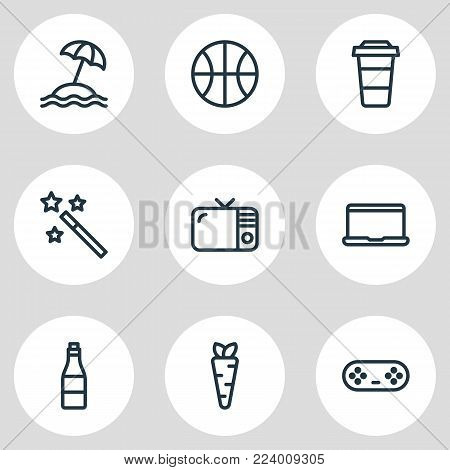 Vector illustration of 9 leisure icons line style. Editable set of notebook, joystick, beverage and other icon elements.
