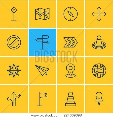 Vector illustration of 16 direction icons line style. Editable set of no entry, navigation, map and other icon elements.