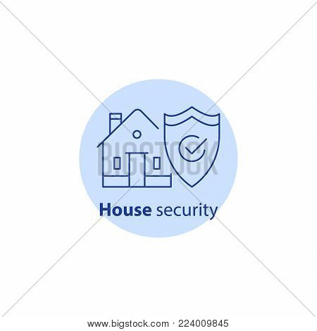 House burglary, break in home, security service, robbery prevention, intrusion protection, property insurance, shield, vector line icon