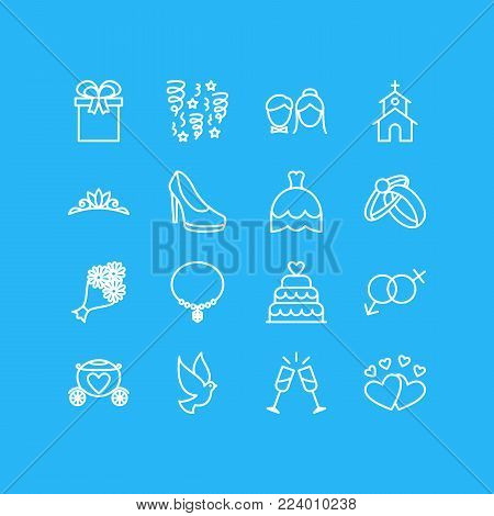 Vector illustration of 16 engagement icons line style. Editable set of gender signs, posy, champagne and other icon elements.