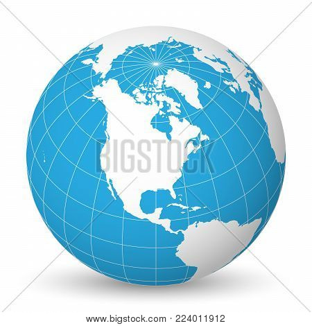 Earth globe with green world map and blue seas and oceans focused on North America. With thin white meridians and parallels. 3D vector illustration.