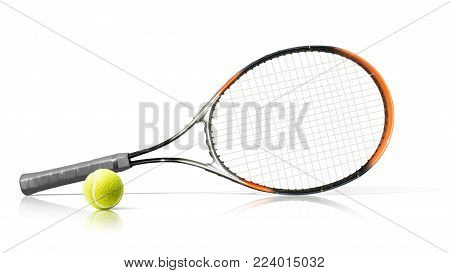 Sport. Tennis racket and ball. Isolated on the white background