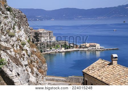 View from the Old Fortress of Corfu on the small city beach of Faliraki. Greece
