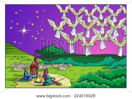 The Choir of Angels appeared before the Shepherds and sings a Song that glorifies God.