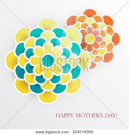 Elegant floral background with 3d paper flowers and place for text. Spring floral greeting card. Origami trendy design template. Paper cut spring flower holiday texture. Happy Mother's Day, 8 march. Vector illustration