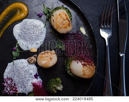 luxury delicious creative molecular food. restaurant delicacies. tasty laboratory.