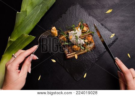 delicious restaurant eating gourmet pate concept. food delicacy. tasting luxury dish