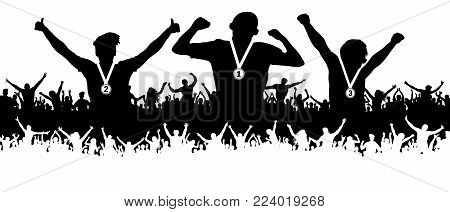 Award ceremony of athletes with medals on the pedestal. Cheering crowd of fans of the people silhouette. Sports achievements poster, banner.