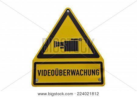 Isolated Video surveillance sign with german labeling