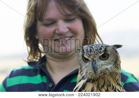Young female animal keeper with collared scops Owl