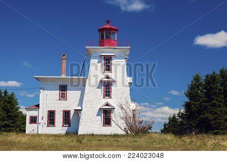 Blockhouse Point Lighthouse On Prince Edward Island. Prince Edward Island, Canada.