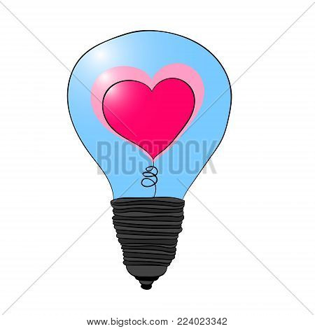A light bulb with a heart inside. Love lights up. Illustration for Valentine s day. Vector drawing.