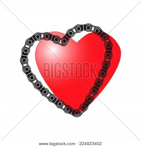 Illustration for the day of lovers. Heart and car chain. Vector graphics.