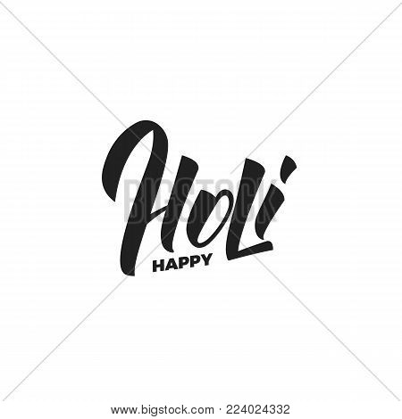 Holi. Happy Holi script lettering logo. Holi festival of colors, spring, love.