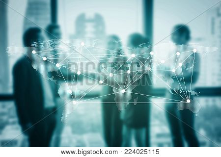 Business handshake and business people with success, Business executives to congratulate the joint business agreement with world map, communication concept.