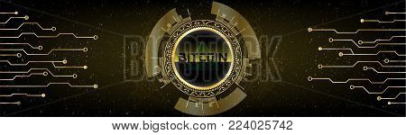 Golden Futuristic Bitcoin concept. HUD s[ace cosmic background with numbers and lines. Banner, brochure, technological lines. Digital Cryptocurrency. Vector. Technology style dark abstract design.