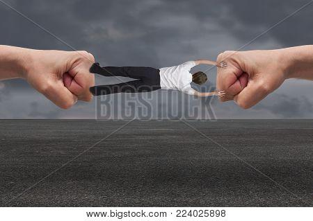 young businessman in suit gets misfortunes concept
