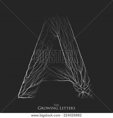 Vector letter A of branch or cracked alphabet. A symbol consisting of growing white lines. Fractured letters. Lighting silhouet of capital letters. Abstract font